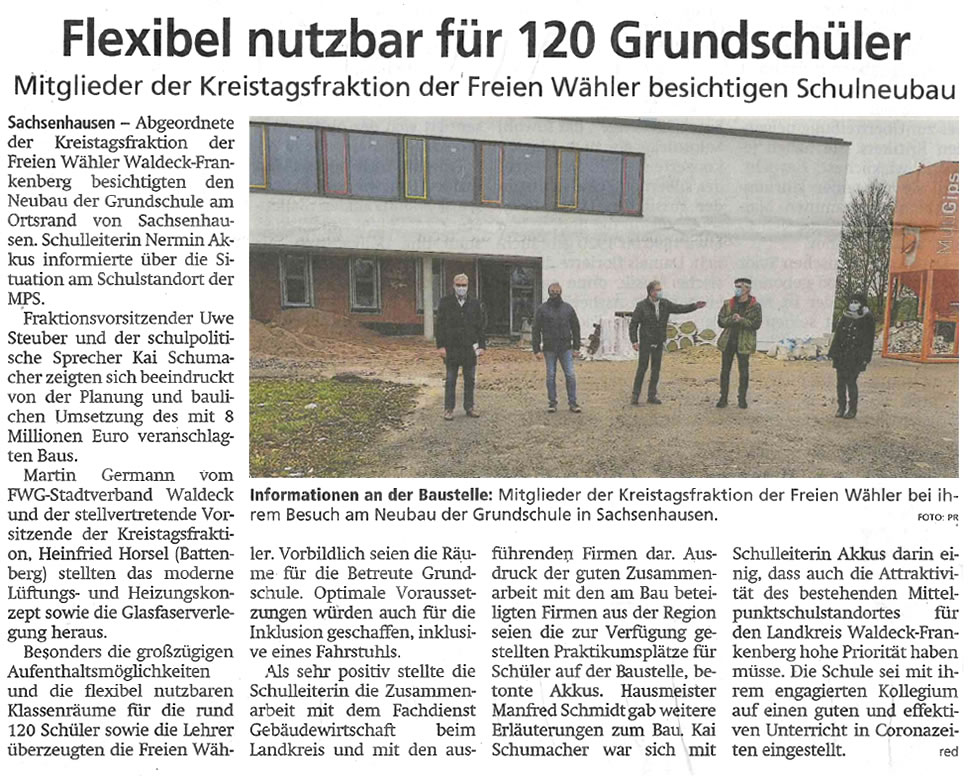 2020 12 16 WLZ Freie Waehler besichtigen Schulneubau