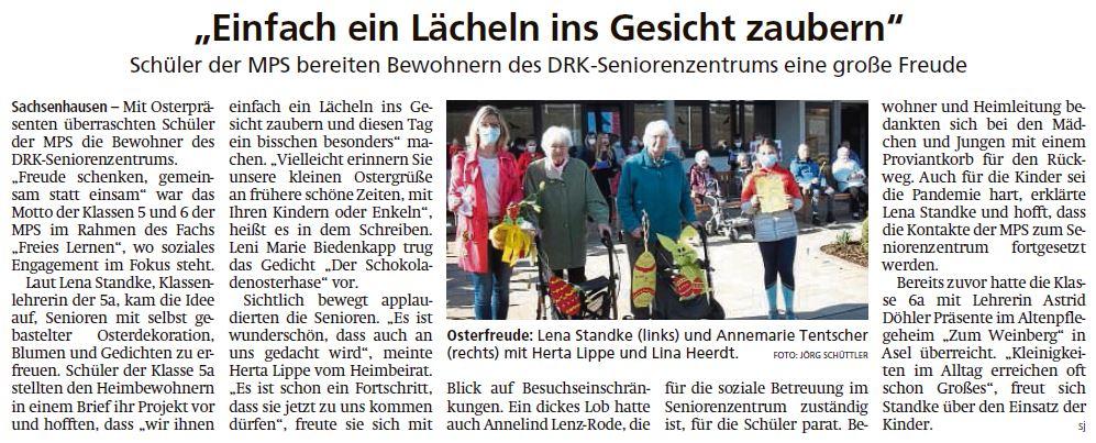 2021 04 08 WLZ MPS Schueler besuchen DRK Seniorenzentrum