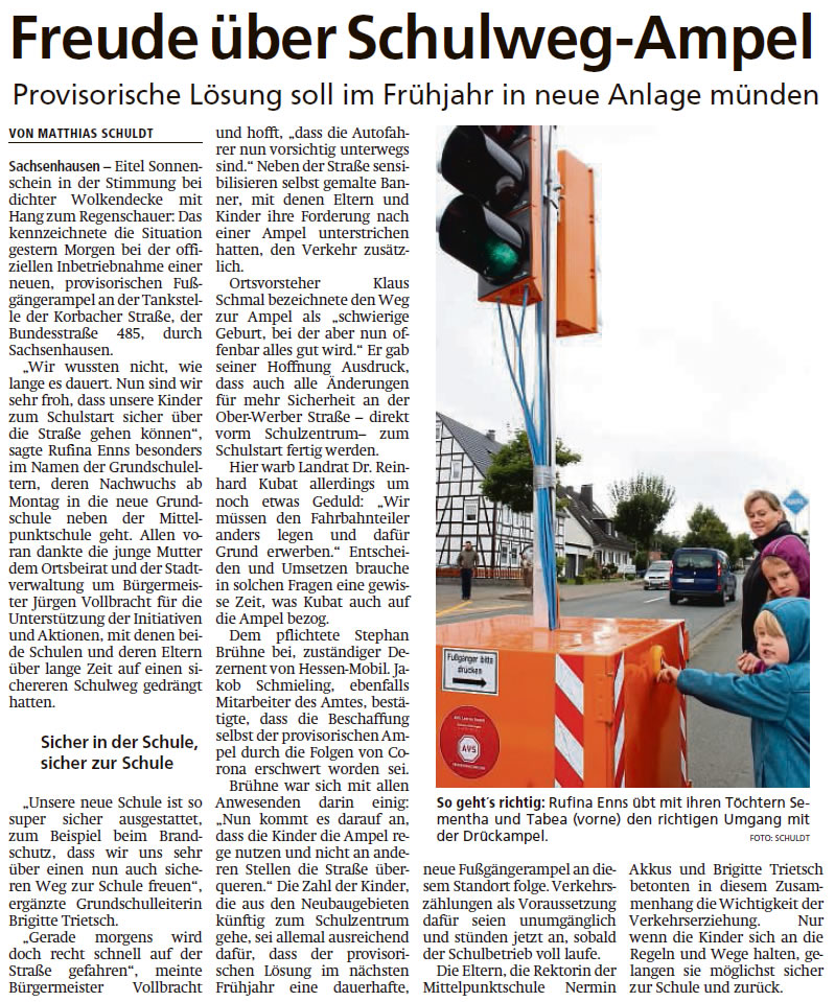 2021 08 28 WLZ Freude ueber Schulweg Ampel